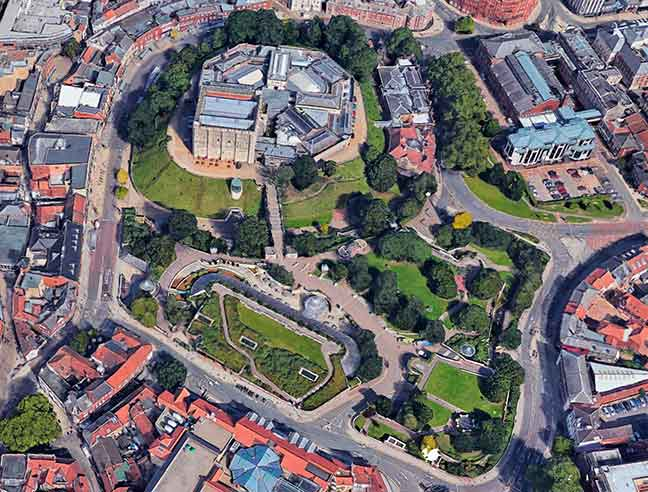 Aerial view of Norwich Castle