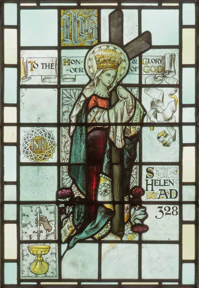 Stained glass window depicting St Helen